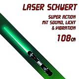 tevenger Spielzeug Lichtschwert Laserschwert 108cm ausziehbar Sound Vibration LED Licht grün TÜV SGS geprüft