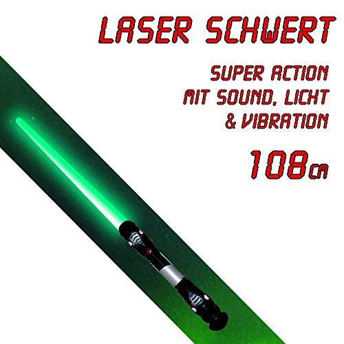 ichtschwert Laserschwert 108cm ausziehbar Sound Vibration LED Licht grün TÜV SGS geprüft (Authentische Jedi-kostüme Für Erwachsene)