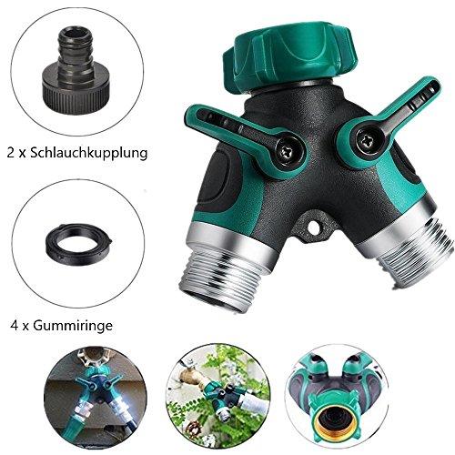capalta Fleurs Répartiteur 2 voies pour robinet eau schla uchteiler Distributeur d'eau avec 2 Raccord de tuyaux et 4 anneaux en caoutchouc
