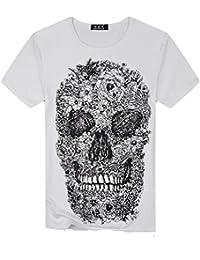 1a882265cbee Kanpola T-Shirt Herren Schwarz Adler Totenkopf Print O-Neck T-Shirts Slim