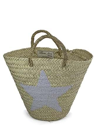 Sac de plage strandkorb beach bag frank flechtwaren panier à anse de panier à provision sternenapplikation en paillettes blanc