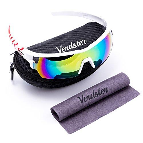 Verdster TourDePro Sonnenbrille für Männer und Frauen - Sportbrille - Sonnenbrille mit UV-Schutz - vollständiges Zubehör - ideal zum Radfahren (Damen Oakley Aviator Sonnenbrille)