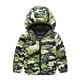 Enfants Manteau Doudounes Stillshine Duvet Manteau avec capuche Camouflage Blousons Hiver Manteaux pour Garçon Filles (5-6 ans (hauteur 120-125 cm), Vert)