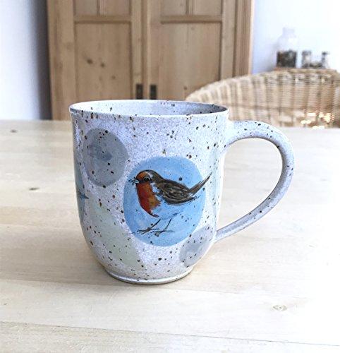 Kaffeebecher türkisblau-grün mit Rotkehlchen,Blaumeise,Stieglitz-getöpfert
