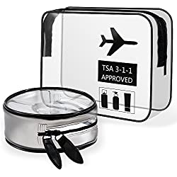 Lictin 2Pcs Neceser Transparente Bolsa de Cosméticos Impermeable Bolsa de Aseo Claro PVC Bolsa de artículos de tocador clara Aprobado por la TSA Viaje en bolsa compatible con la aerolínea del aeropuer