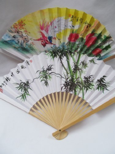 1x Quality White Paper & Wood Chinese Japanese Oriental Fancy Dress Geisha Decorative Fan 26cm - posted from London by Fat-Catz