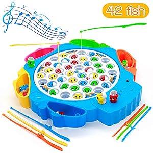 Symiu Juegos de Mesa de Pesca Musical con Caña de Pescar Juegos de Mesa Educativos Juguetes para Niños Niñas 3 4 5 6 Años