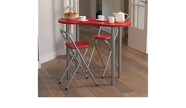 Set tavolo con sedie sgabelli richiudibili pieghevoli rosso casa