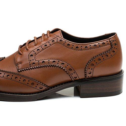 Chaussures À Lacets En Cuir Derby Lisse Yorwor Pour Femme Low Brogue Oxford Marron