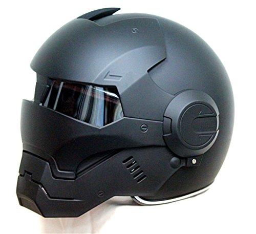 2017 Top Heißer Black Iron Man Helm Motorrad Helm Halb Helm Offenen Gesicht Helm Casque Motocross GRÖßE: S M L XL XXL,Black-L - 2