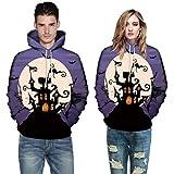 Bringbring Damen Herren Halloween Sweatshirt Pullover Mit Kapuze GroßE GrößE 3D Drucken Herbst Und Winter Tarnung Langarm Punk Freizeit Locker(5XL, Violett)