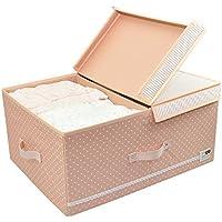 Abbigliamento pieghevoli Organizzatore Storage Box, Divisore bordo estraibile e coperchio, pieghevole Container magazzino, Carino Colore per la ragazza (colore rosa)