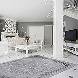 Teppich Kelim Kilim Grau Schwarz Vintage Blüte Rokoko rutschfester Badteppich waschbar pflegeleicht Modern, hochwertige Webung versch. Größen (80cm x 150cm)