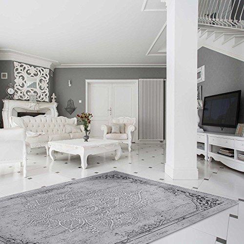 Teppich Kelim Kilim Grau Schwarz Vintage Blüte Rokoko rutschfester Badteppich waschbar pflegeleicht Modern, hochwertige Webung versch. Größen (120cm x 170cm)