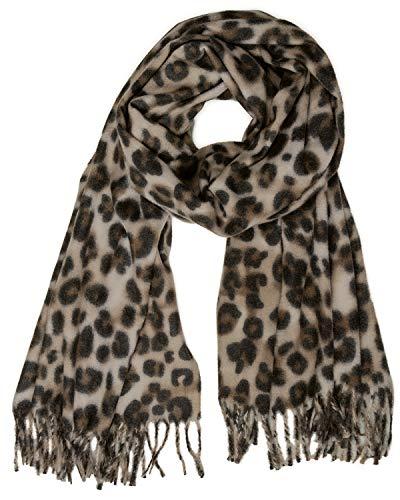 Caspar SC501 weicher warmer Damen XL Schal mit Leo Animal Print, Farbe:braun, Größe:Einheitsgröße