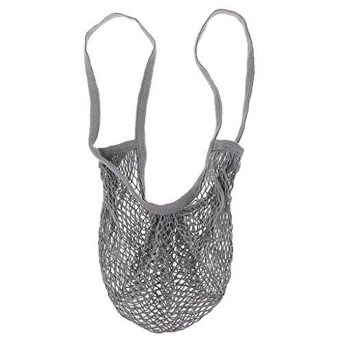 Sharplace Einkaufsnetz Netze Tasche Obst Gemüse Kartoffelsack Bio-Baumwollschnur in vielen Farben Rauchgrau