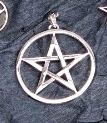 Berg ciondolo pentacolo-cinque a stella con bordo, Ø 50mm, in argento Sterling
