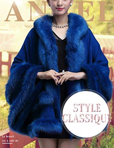 Femme Cape de Cocktai SoiréeMariage Fourrure Fausse de Renard Poncho Élégant Chic Manteau-cape à Capuche Cardigan Beunique Bleu