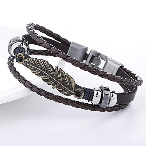 Irugh pelle bovina vintage intrecciata bracciale in lega foglia cuoio multistrato bracciale gioielli bracciali mano gioielli regalo di compleanno