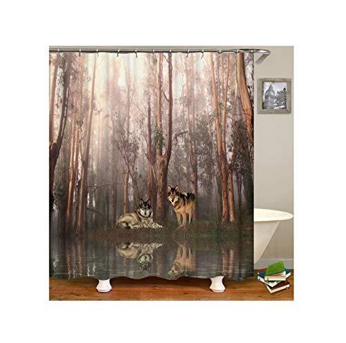 Knbob Polyester Duschvorhang Wölfe im Wald Badewanne Vorhang 165x200CM mit 12 Duschvorhangringen -