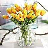 Chunqi Fiori Artificiali, Fiori Finti Bouquet Tulipano di Seta Reale Tocco da Sposa Bouquet da Sposa per la casa Garden Party Floral Decor 10pcs (Arancione)