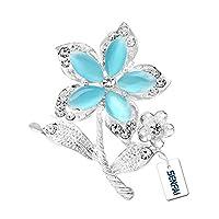 SENFAI Opal Crystal Flower Brooch Jewelry Safety Pin Women Birthday Gift (Blue)