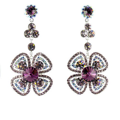 Fiori viola e placcato in argento e strass orecchini - Orecchini Strass Clip Ons