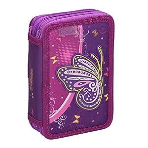 Spirit Estuche Escolar en 3D con diseño de Mariposas moradas y 3 Cremalleras.