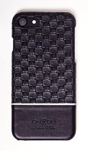 ICH&DU Smartphone Case London | Zubehör für Original Apple iPhone 7 Plus | Flaches Backcover aus PU-Leder in gewebter Optik in schwarz | mit Karten-Steckfach | Schutz-Hülle, Leder-Tasche mit verstärkt black/ schwarz