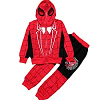 New Kids Boys Spring Autumn Spiderman Sports Casual Clothes Coat+Pant
