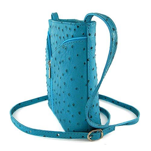 4cf72aae6e66b ... Vera Pelle Handtaschen Italien Echt Leder Schultertasche Frauen Damen  Tasche Handtasche Ital Bag Blau Hell Straußen