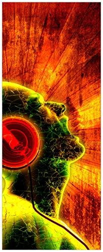 Wallario selbstklebendes XXL Poster - Musik mit Kopfhörern in Premiumqualität, Größe: 80 x 200 cm