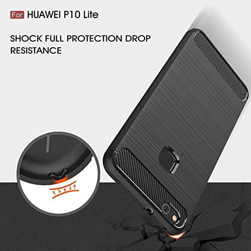 YHUISEN Huawei P10 Lite Case, Ultra Light Carbon Fiber Rüstung ShockProof gebürstet Silikon Griff Fall für Huawei P10 Lite ( Color : Red ) Gray