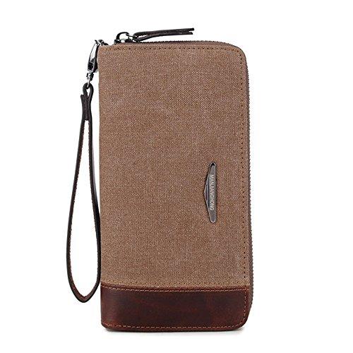 Mens Slim Front Pocket Wallet ID Window Kartenetui Soft Canvas Farbabstimmung Sowohl Männer Und Frauen Brieftasche Licht Handtasche Hohe kapazität Karte Tasche Praktische Shopping-Trip Geeignet für (Kapazität Licht Hohe)