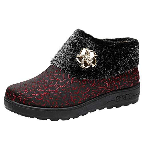 LILIHOT Frauen Schnee lädt warme beiläufige Schuh Baumwollschuh Blumenrhinestone Stiefeletten auf Damen Stiefeletten Schlupfstiefel Übergrößen Warm Gefüttert (Frauen-schnee-stiefel Beste)