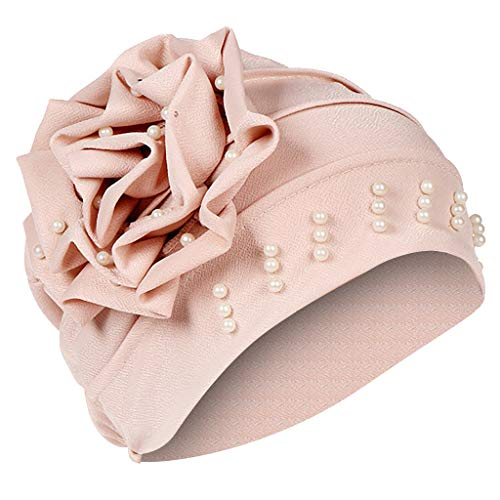 URSING Damen Kopftuch Muslim Ruffled Cancer Chemo Mütze Schal Turban Wrap Cap Stylish Elegan Blumen Indien Hut Multifunktionstuch Kopfbedeckung für Chemo, Krebs, Make up (Khaki)