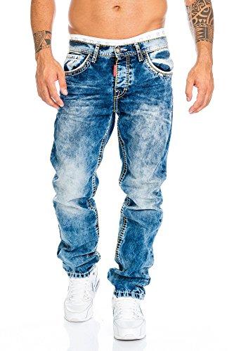 Cipo & Baxx Herren Jeans Hose mit Nähten, 36W / 32L, Blau