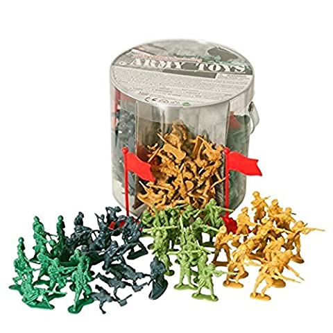 Male En Plastique - Army Toys Bucket of 200 Assorted Military