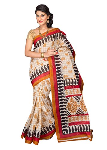 Reet Casual Wear Golden Polka Dot Poly Cotton Saree Mangalgiri with Unstitched Blouse Piece in Women's Clothing  available at amazon for Rs.399