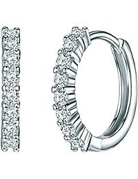 Rafaela Donata - Créoles avec fermetures à charnière - Argent sterling 925 oxyde de zirconium, boucles d'oreilles oxyde de zirconium, bijoux en argent - 60837069