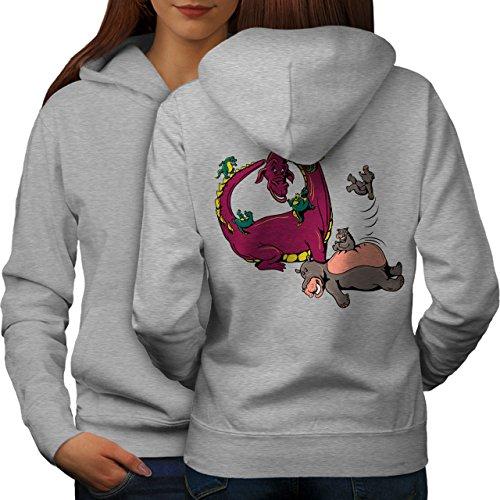 wellcoda Animato Drago Fantasia Donne Felpa con Cappuccio Dinosaure...