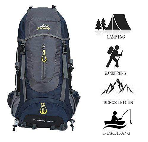 65L+5L/45L+5L/50L+5L Beigsteigen Backpack Outdoor Leicht Fahrrad Rucksack Klettern Wanderrucksack Reise Sport Tagesrucksack Camping Trekkingrucksack mit Regenschutzhülle Wasserdicht (Dunkelblau, 70L)
