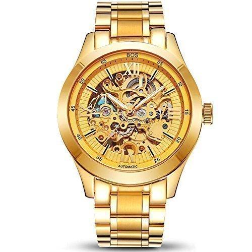 Angela Bos - Reloj de pulsera para hombre (mecanismo mecánico visible, indicador luminoso, correa de acero inoxidable), acabado dorado