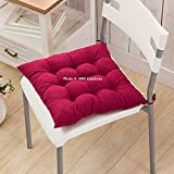 #5: Home Spaces Premium Microfibre Chair Pad Cushion Seat Pads Seat Cushion Indoor Outdoor Dining Home Office Garden Decor-15 x 15 Inches (Maroon)