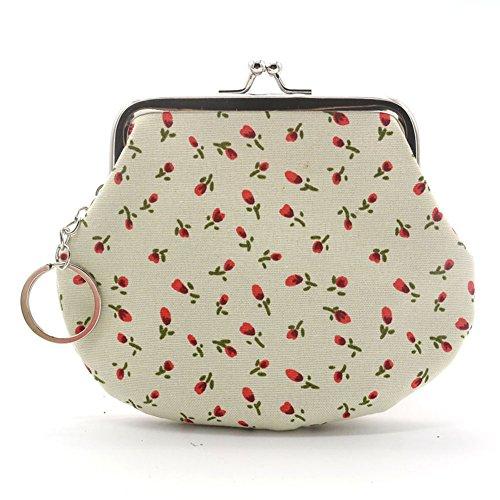 Damen-tragbar Coin Geldbörse Tasche Tasche für Lippenstift, Kreditkarte, Headset, Schlüssel, beige, Einheitsgröße (Tasche Coin Ändern)