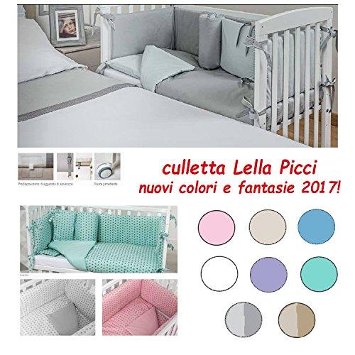 CULLETTA CO-SLEEPING IN LEGNO LELLA PICCI COMPLETA con cuscino omaggio (AZZURRO)