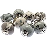 Mixed Set of 8 x Contemporary Grey Collection Ceramic Cupboard Knobs in a Vintage Distressed Look (MG-714) - 'Mango Tree' TM Registered Product