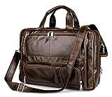 Everdoss Herren echt Rindleder Vintage Businesstasche Handtasche Umhängetasche groß Kuriertaschen Laptoptasche