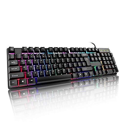 Tastiera meccanica led retroilluminato gaming tastiera, 104tasti anti-ghosting per i giocatori, dattilografi, impermeabile tastiera usb cablato 44x13x3cm