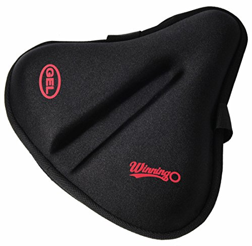 winningo groß Gel Fahrrad Sattel Pad, breit Bike Sitzkissen für breite Sitz die meisten breit Bike Sattel, Heimtrainer Sitz … (Schwarz-XL)